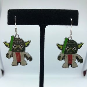 Playful Yoda Dangle Hook Earrings
